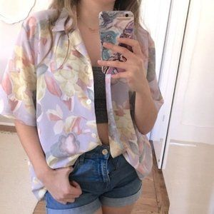Vintage oversized pastel floral button up 80s top